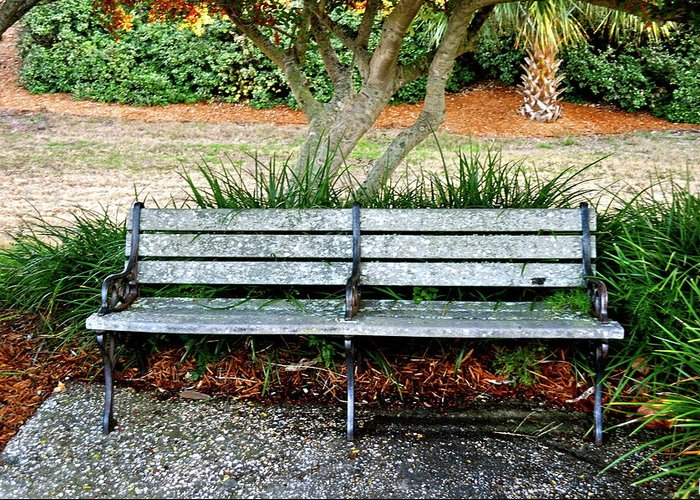 Bench Greeting Card featuring the photograph Take A Seat Lovey by Laura Ogrodnik