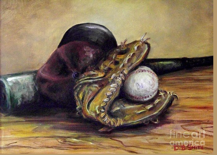 Base Ball Cap Greeting Card featuring the painting Take Me Out To The Ball Game by Deborah Smith