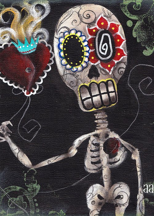 Day Of The Dead Greeting Card featuring the painting Take My Heart by Abril Andrade Griffith