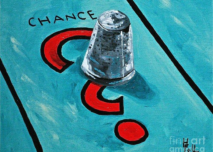 Monopoly Toys Games Chance Greeting Card featuring the painting Taking A Chance by Herschel Fall