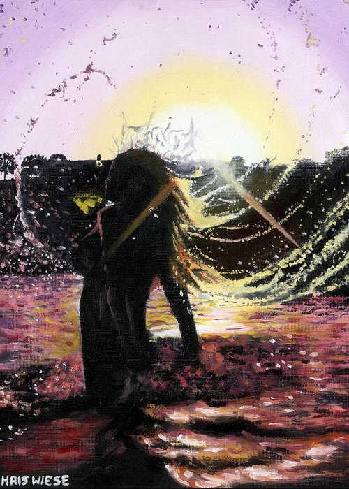Sunset Greeting Card featuring the painting Taking A Dip by Chris Wiese