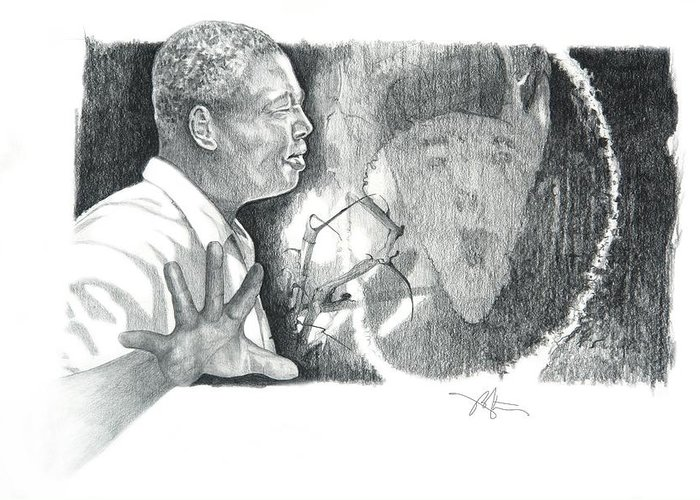 Pencil Drawing Greeting Card featuring the drawing Taking A Stand by Bob Salo