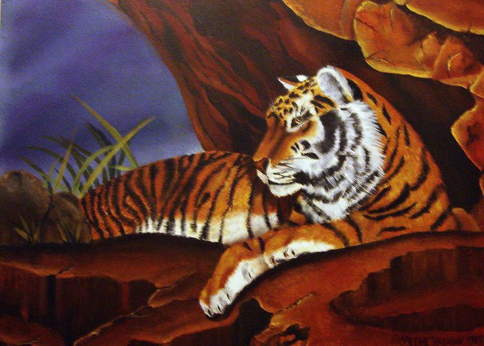 Tiger Greeting Card featuring the painting Taking Cover by Darlene Green