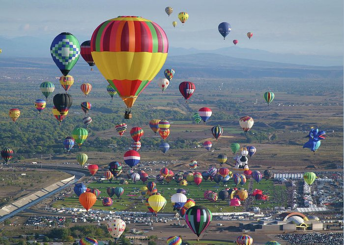 Balloons Greeting Card featuring the photograph Taking Flight by Marie Leslie