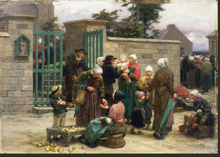 Taking Greeting Card featuring the painting Taking In Foundlings by Leon Augustin Lhermitte
