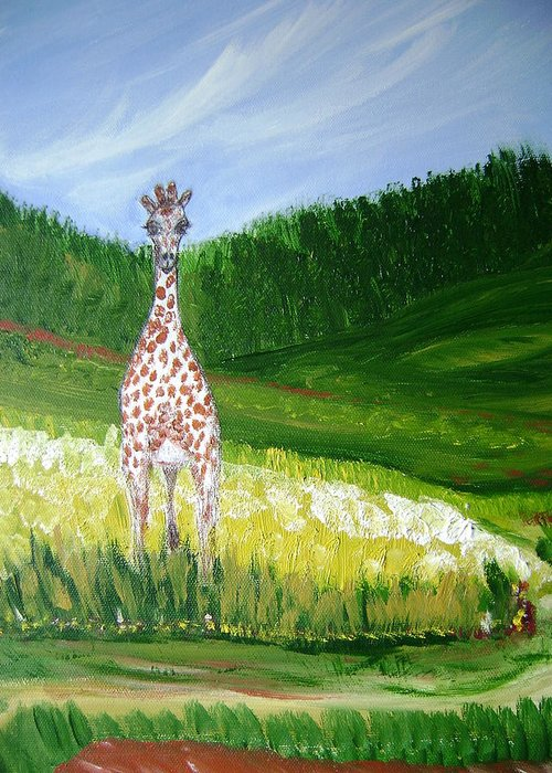 Giraffe Greeting Card featuring the painting Taking In The View by Laura Johnson