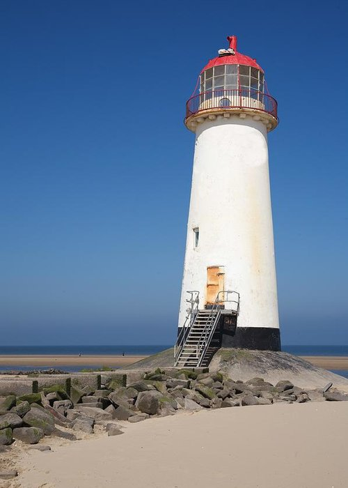 Lighthouse Greeting Card featuring the photograph Talacre Lighthouse And Beach. by Christopher Rowlands