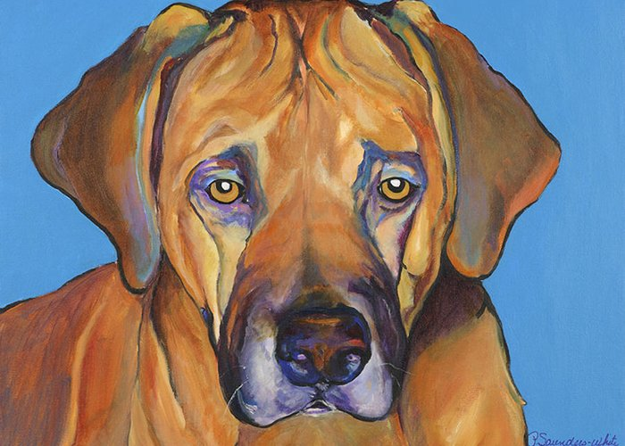 Rhodesian Ridgeback Dog Ridgeback African Colorful Orange Gold Yellow Red Greeting Card featuring the painting Talen by Pat Saunders-White