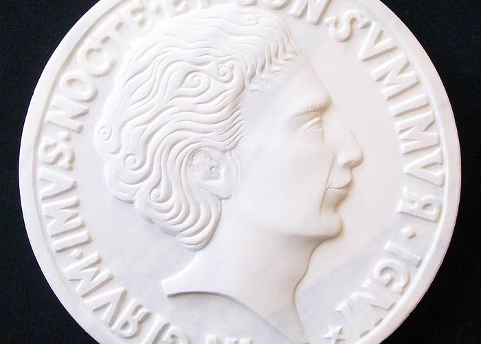 Portrait Stefano Bollani Marble Talent Coin Sculpture Relief Carved Roman Byzantine Greeting Card featuring the sculpture Talent Of Stefano Bollani As Byzantine Emperor In Girum Imus Nocte Et Consumimur Igni by Marino Ceccarelli Sculptor