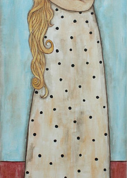 Folk Art Paintings Greeting Card featuring the painting Tall Angel With Bird by Rain Ririn