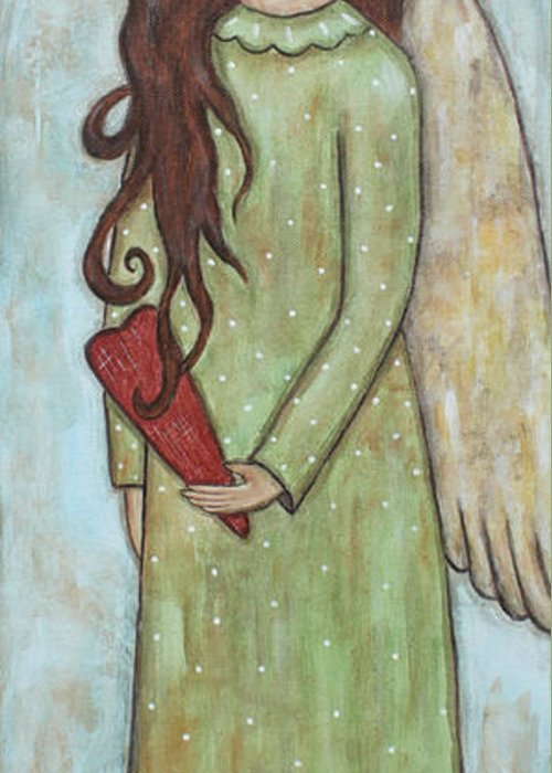 Folk Art Paintings Greeting Card featuring the painting Tall Angel With Heart by Rain Ririn