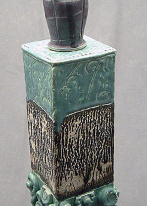 Stoneware Greeting Card featuring the ceramic art Tall Jar With Vase Lid by Donald Burroughs
