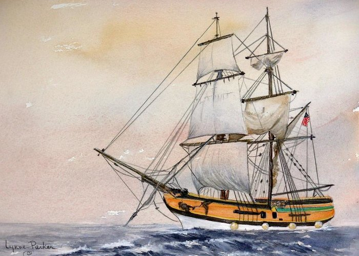 Lady Washington Greeting Card featuring the painting Tall Masted Ship by Lynne Parker