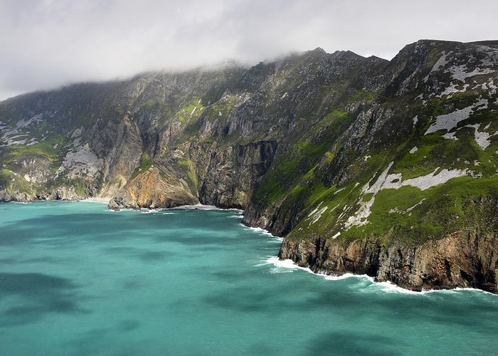 Slieve League Greeting Card featuring the photograph Tall Sea Cliffs Of Slieve League Donegal Ireland by Pierre Leclerc Photography