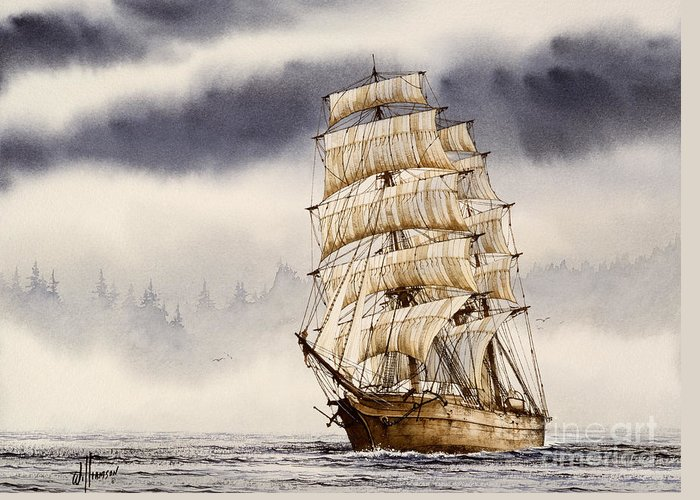 Tall Ship Print Greeting Card featuring the painting Tall Ship Adventure by James Williamson