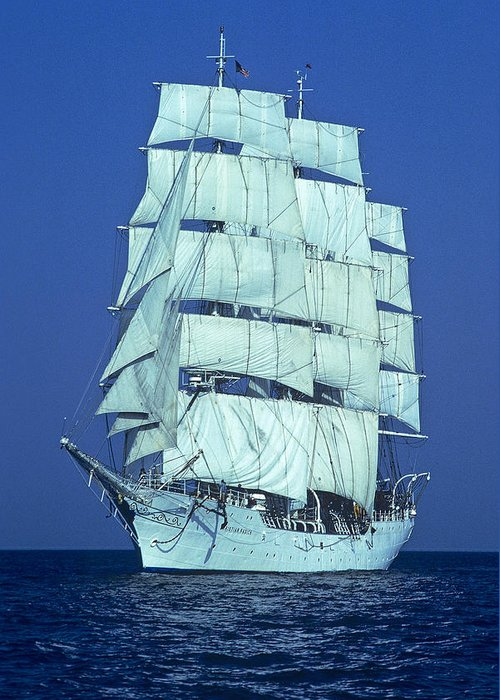 Tall Ships Greeting Card featuring the photograph Tall Ship At Sea by Kenneth Garrett