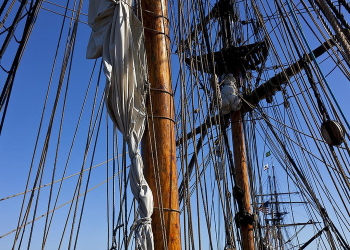 Blue Sky Greeting Card featuring the photograph Tall Ship Rigging Lady Washington by Garry Gay