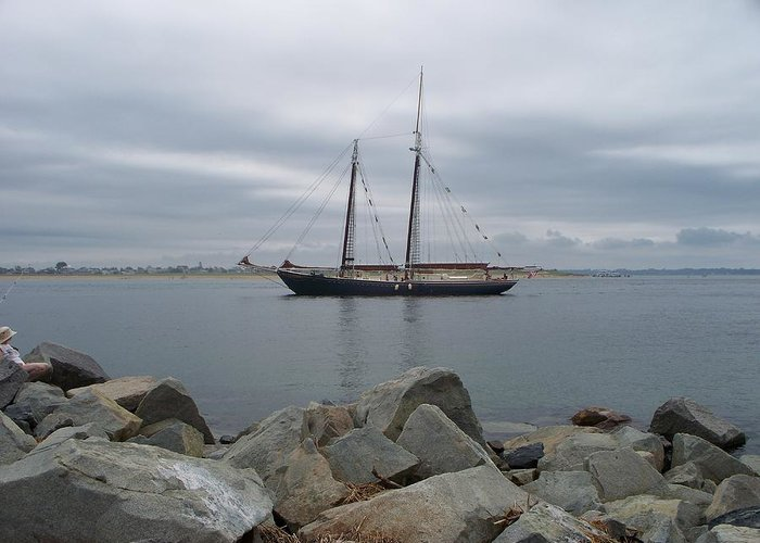 Seascape Greeting Card featuring the photograph Tall Ship Sailing Away by Rosanne Bartlett