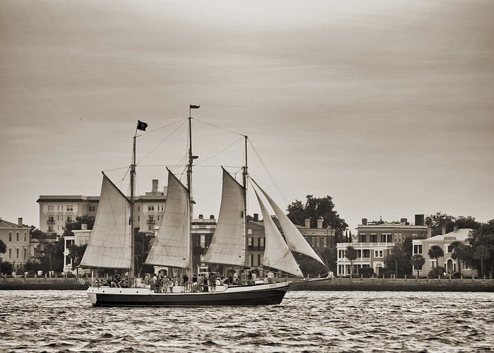 Tall Ship Greeting Card featuring the photograph Tall Ship Schooner Pride Off The Historic Charleston Battery by Dustin K Ryan