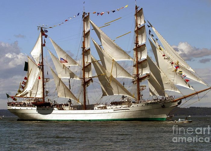 Tall Ships Greeting Card featuring the photograph Tall Ship by Robert Torkomian