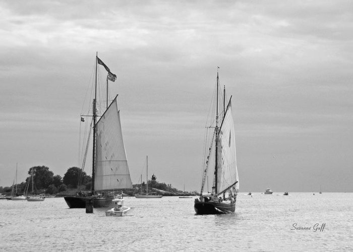 Tall Ships Greeting Card featuring the photograph Tall Ships Sailing I In Black And White by Suzanne Gaff