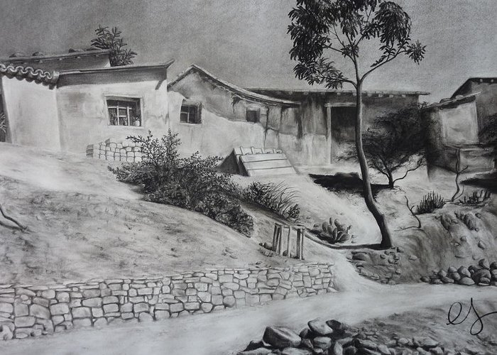 Charcoal Greeting Card featuring the drawing Tambo by Estephy Sabin Figueroa