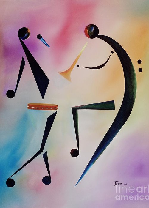 Trumpet Greeting Card featuring the painting Tambourine Jam by Ikahl Beckford