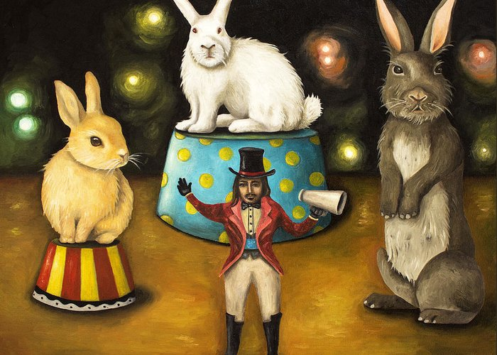 Bunnies Greeting Card featuring the painting Taming Of The Giant Bunnies by Leah Saulnier The Painting Maniac