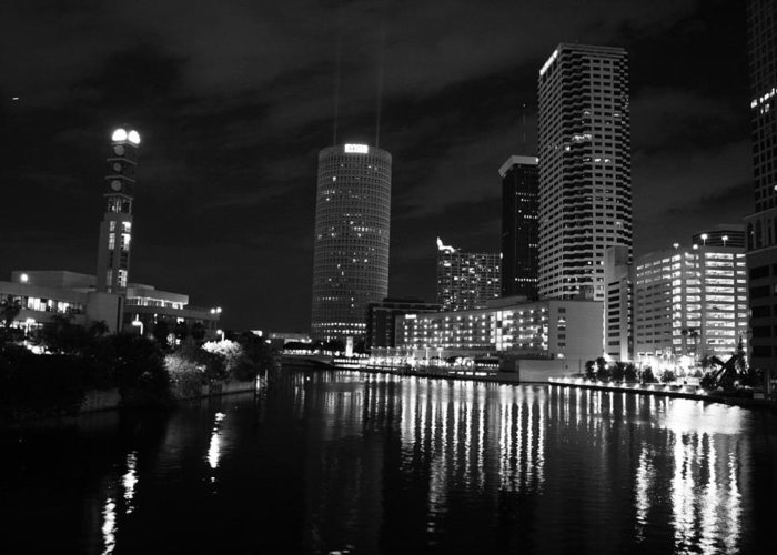 Tampa Greeting Card featuring the photograph Tampa Skyline West Night Black And White by Larry Underwood