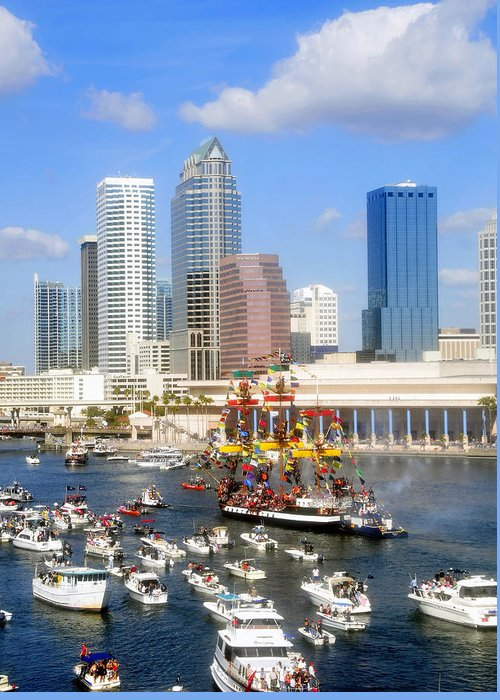 Gasparilla Greeting Card featuring the photograph Tampa's Flag Ship by David Lee Thompson
