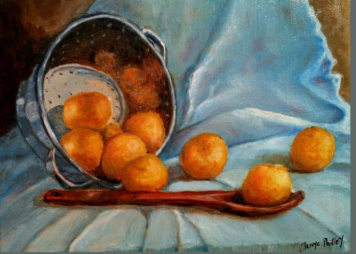 Still Life Greeting Card featuring the painting Tangerine Family Portrait by Terrye Philley