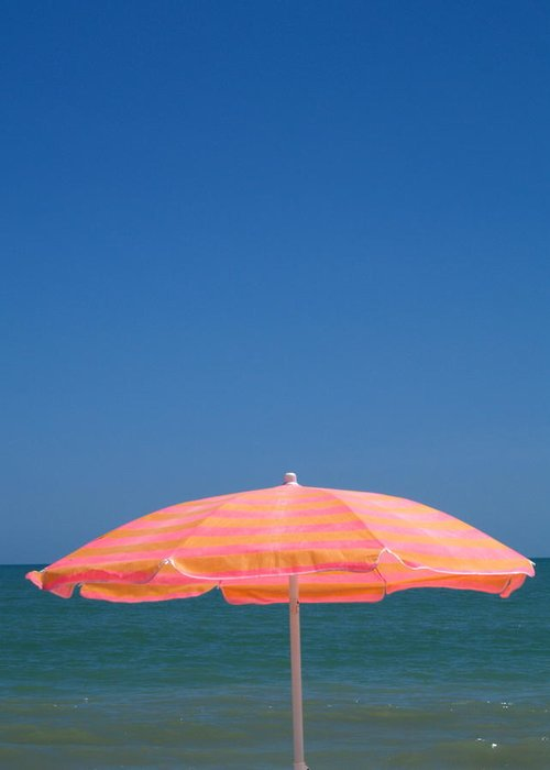 Umbrella Greeting Card featuring the photograph Tangerine Tan by Richard Mansfield