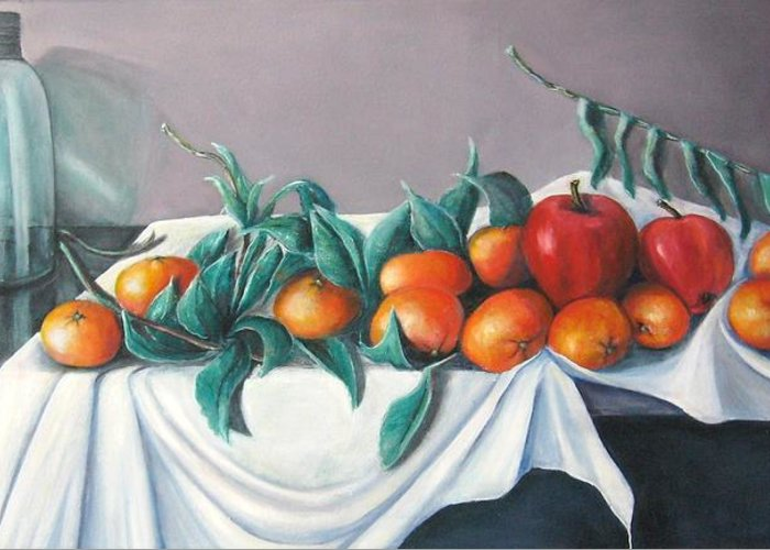 Still Life Greeting Card featuring the painting Tangerines And Apples by Eileen Kasprick