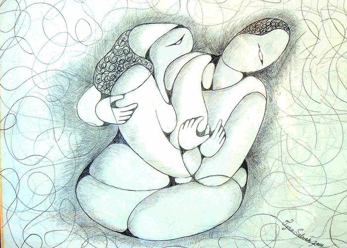 Pencil Greeting Card featuring the drawing Tangled Emotion by Tyna Silver