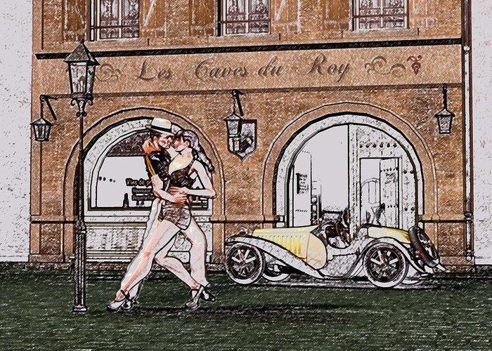 Tango Greeting Card featuring the digital art Tango Dancers In The Street by John Junek