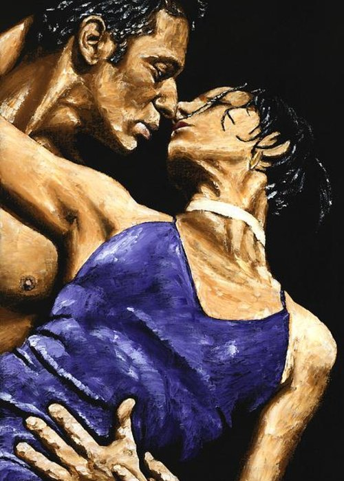 Couple Greeting Card featuring the painting Tango Heat by Richard Young