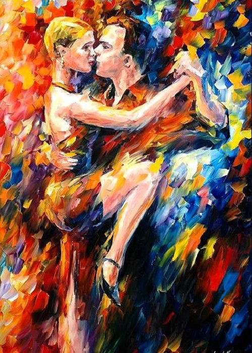 Dance Greeting Card featuring the painting Tango Of Love  by Leonid Afremov