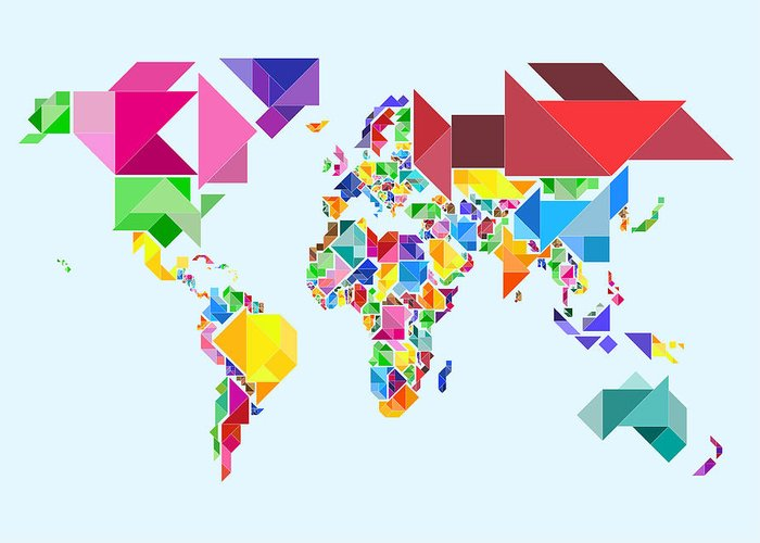 Tangram Map Greeting Card featuring the digital art Tangram Abstract World Map by Michael Tompsett
