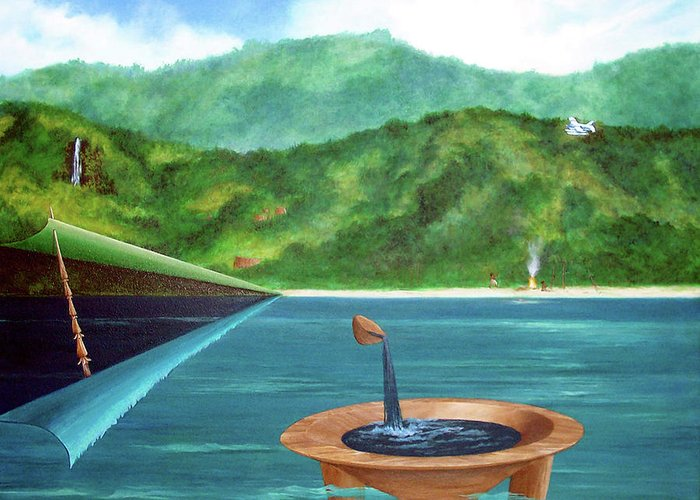Surreal Painting Greeting Card featuring the painting Tanoa Spear Plane by Sharon Ebert