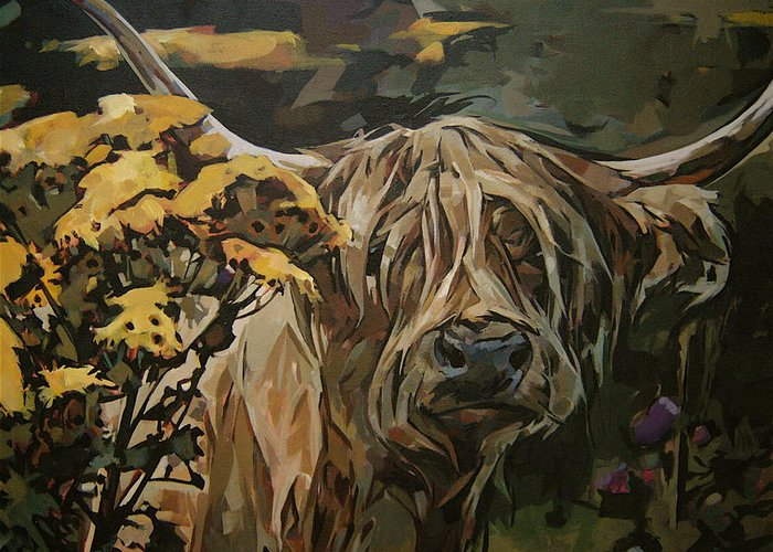 Cow Greeting Card featuring the painting Tansy Weed by Tim Heimdal