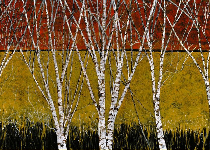 Birches Greeting Card featuring the painting Tante Betulle by Guido Borelli