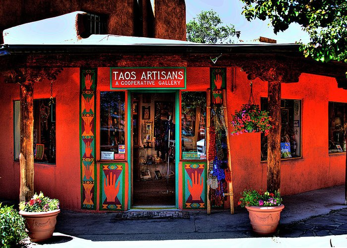 New Mexico Greeting Card featuring the photograph Taos Artisans Gallery by David Patterson