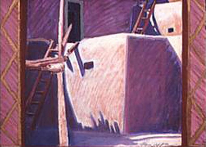 Pueblo Art Greeting Card featuring the pastel Taos Corner by Jo Thompson
