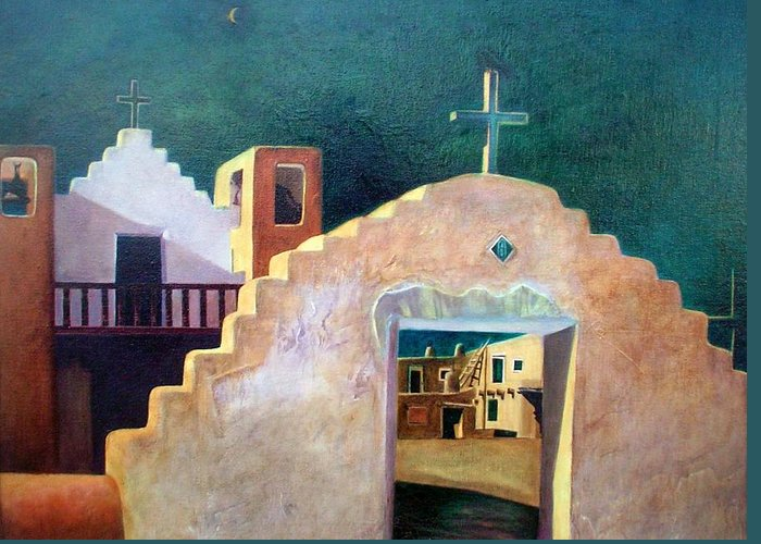 Oil Greeting Card featuring the painting Taos Evening Shadows by Stephen Hanson