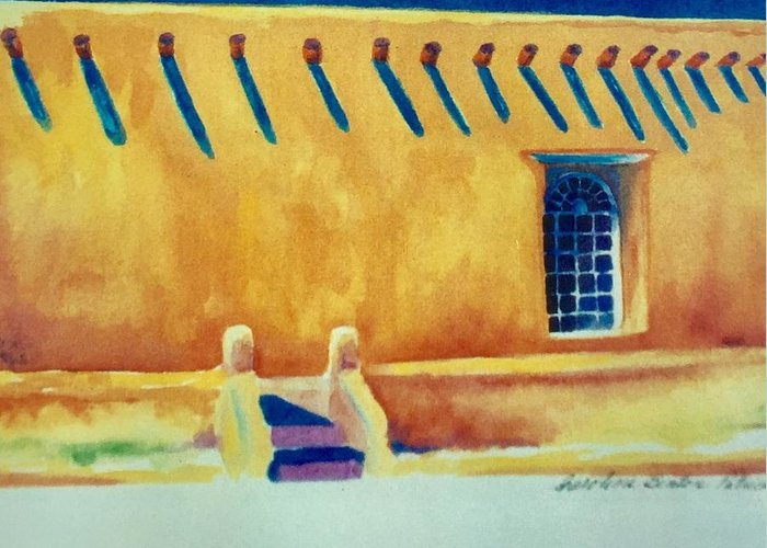 Taos Noon Greeting Card featuring the painting Taos Noon by Caroline Patrick