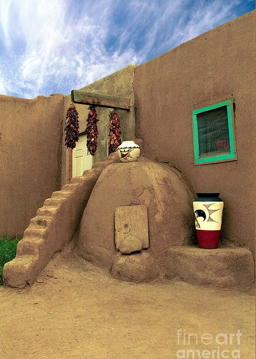 Pueblo Greeting Card featuring the photograph Taos Oven by Jerry McElroy