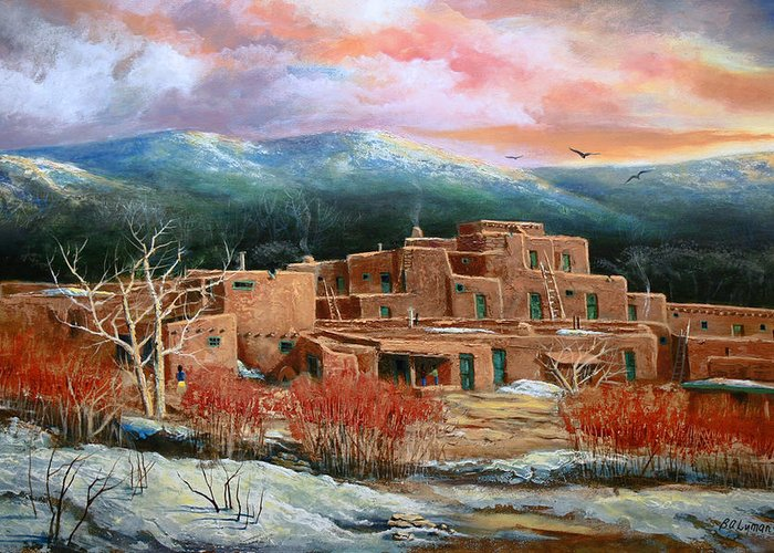 Landscape Greeting Card featuring the painting Taos Pueblo by Brooke lyman