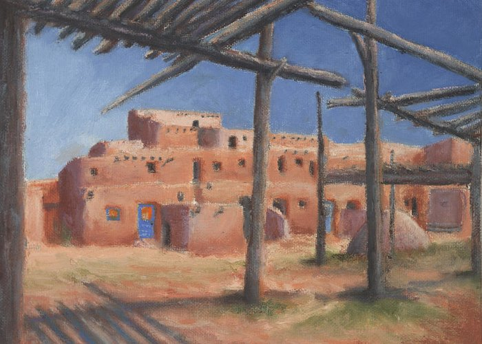 Taos Greeting Card featuring the painting Taos Pueblo by Jerry McElroy
