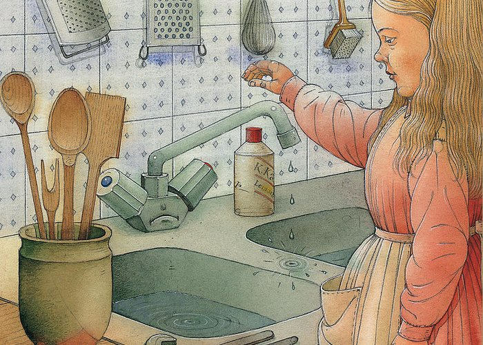Tap Sink Kitchen Girl Dishes Cold Water Greeting Card featuring the painting Tap by Kestutis Kasparavicius