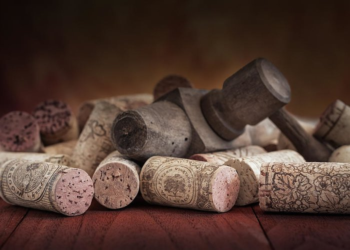 Aged Greeting Card featuring the photograph Tapped Out - Wine Tap With Corks by Tom Mc Nemar
